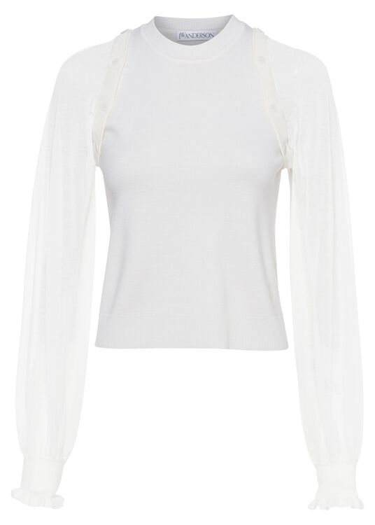 DETACHABLE SHEER SLEEVE FITTED TOP image number 0