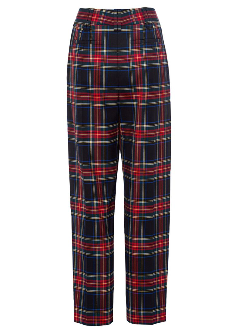 STRETCH TARTAN CARROT PANTS, Rot, large image number 1