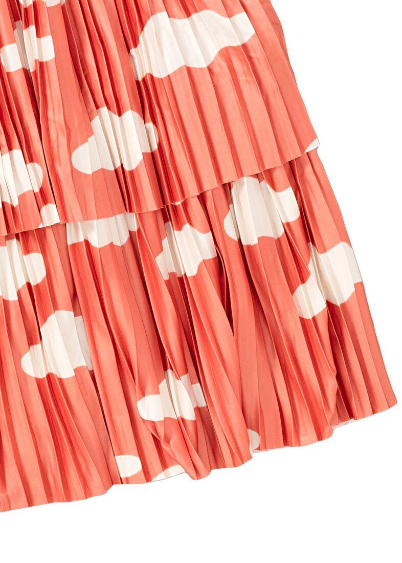 Clouds AOP Plisee Skirt, Orange, large image number 3