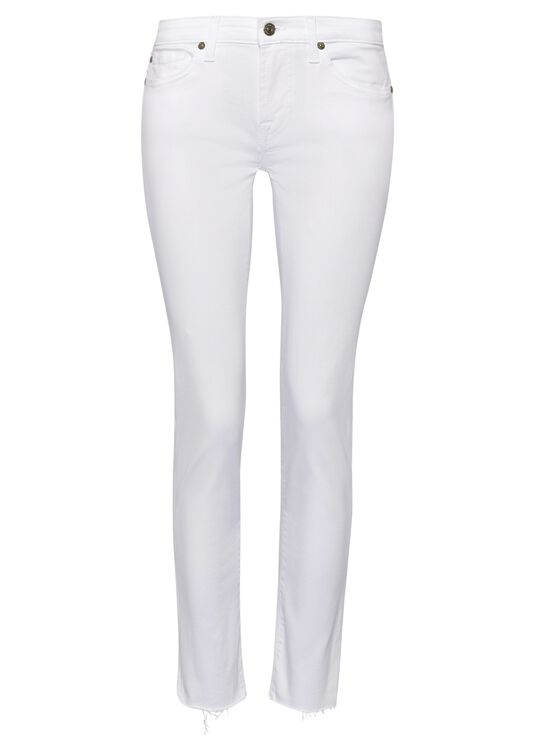 PYPER CROP Slim Illusion Pure White with Raw Cut Frayed image number 0