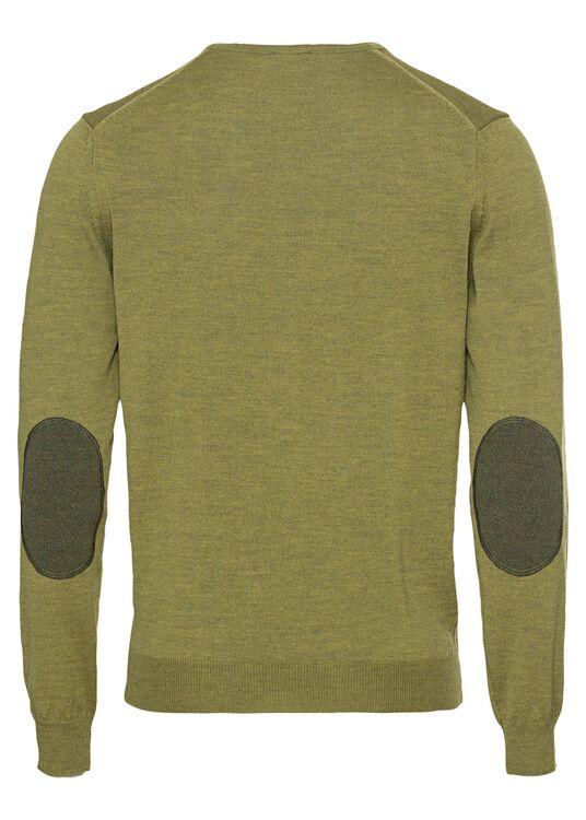 V-neck w. patch, Merino wool, Grün, large image number 1