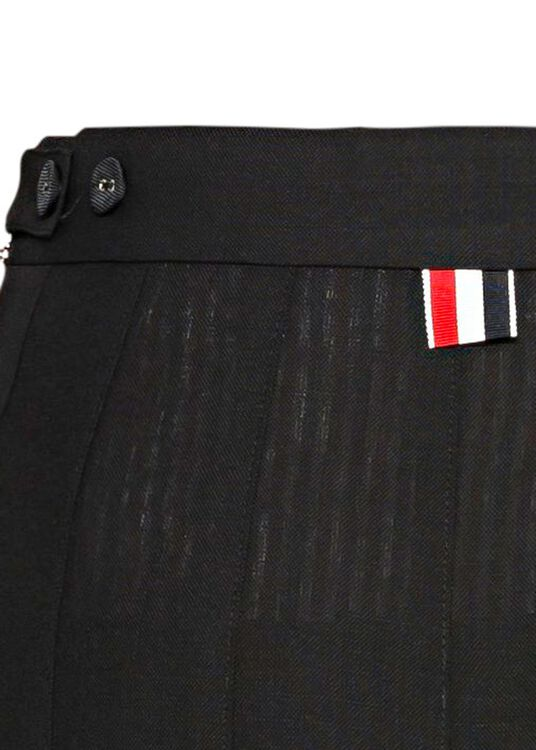 DROPPED BACK MINI PLEATED SKIRT IN 2PLY FRESCO, Schwarz, large image number 3