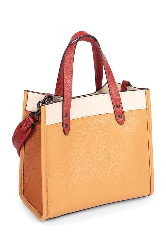 DLlorblock leather whipstitch detail DLach badge field tote image number 1