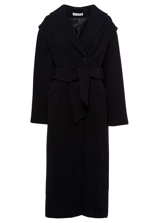 OVERSIZED COAT WITH LAPEL AND BELT image number 0