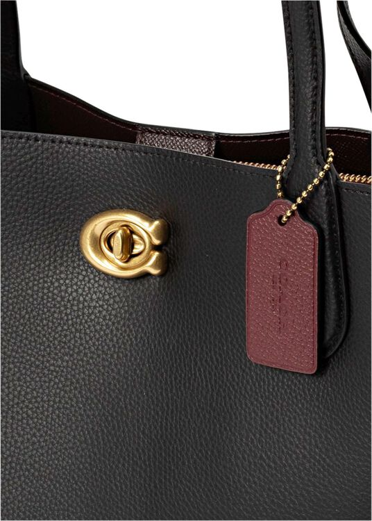 polished pebble leather willow tote image number 1