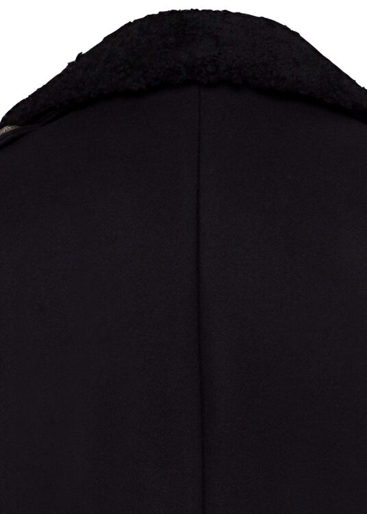 WOOL COAT W/ DETACHABLE SHEARLING COLLAR image number 3