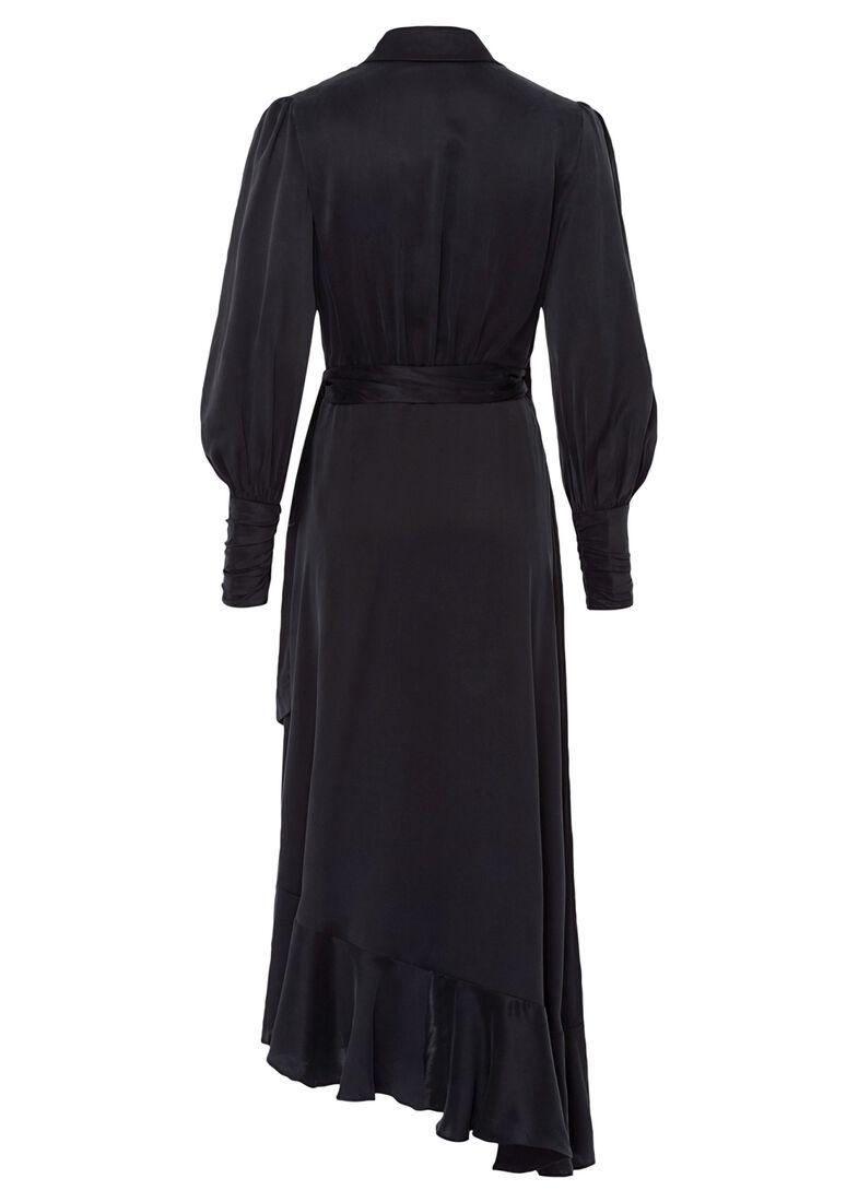 Silk Wrap Midi Dress, Schwarz, large image number 1