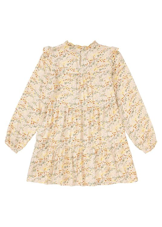 Pebble Flower LS Dress, Beige, large image number 1