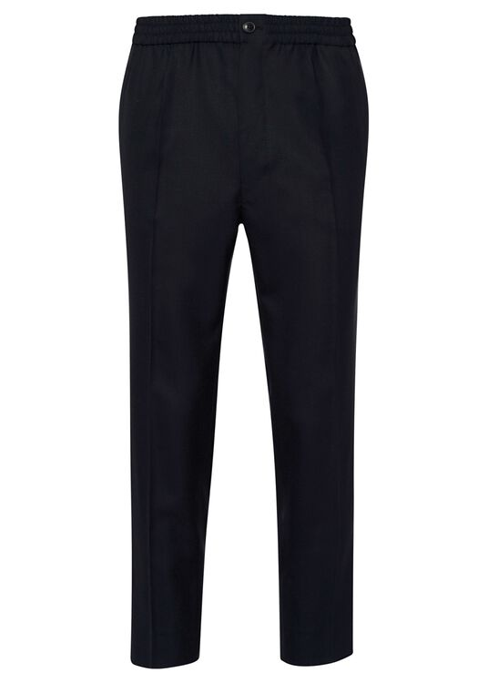ELASTICIZED WAIST CROPPD FIT TROUSERS image number 0