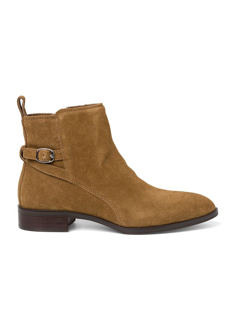 9_Victor Flat Ankle Boot Buckle Suede, Braun, large image number 0