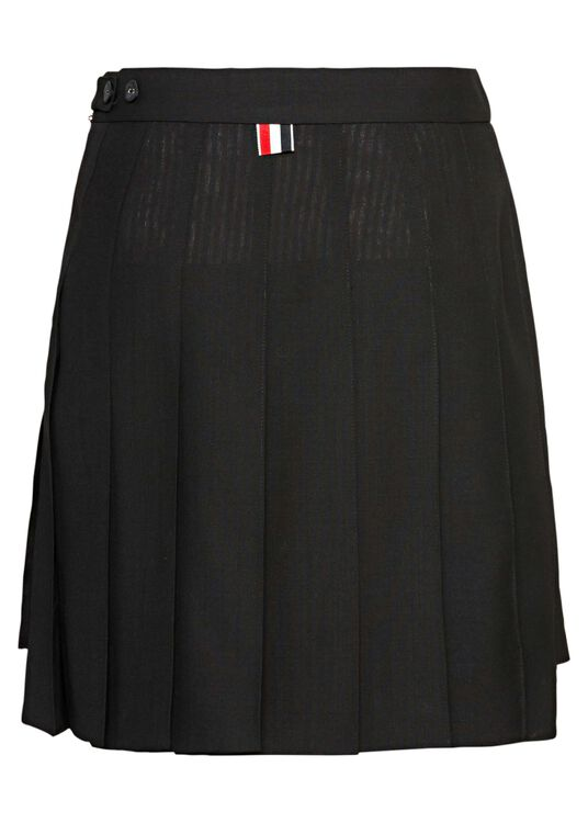 DROPPED BACK MINI PLEATED SKIRT IN 2PLY FRESCO, Schwarz, large image number 1