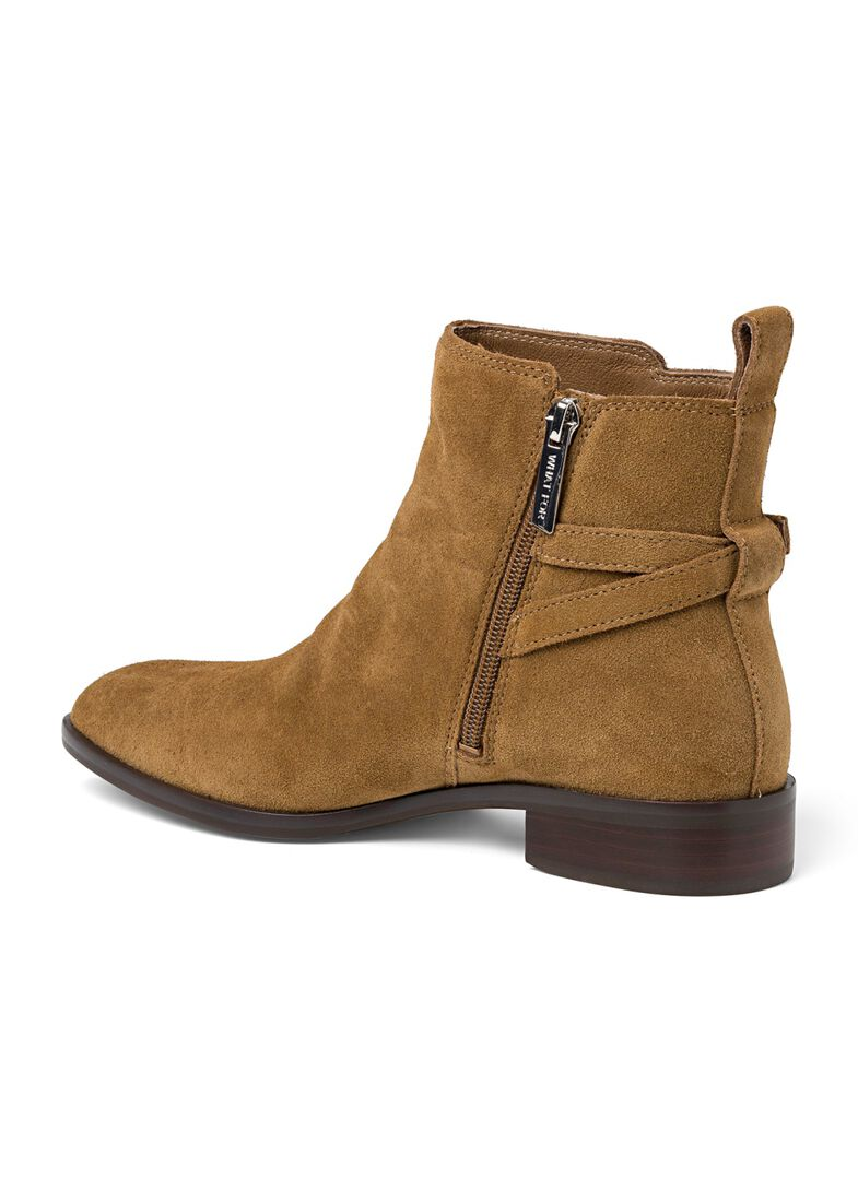 9_Victor Flat Ankle Boot Buckle Suede, Braun, large image number 2