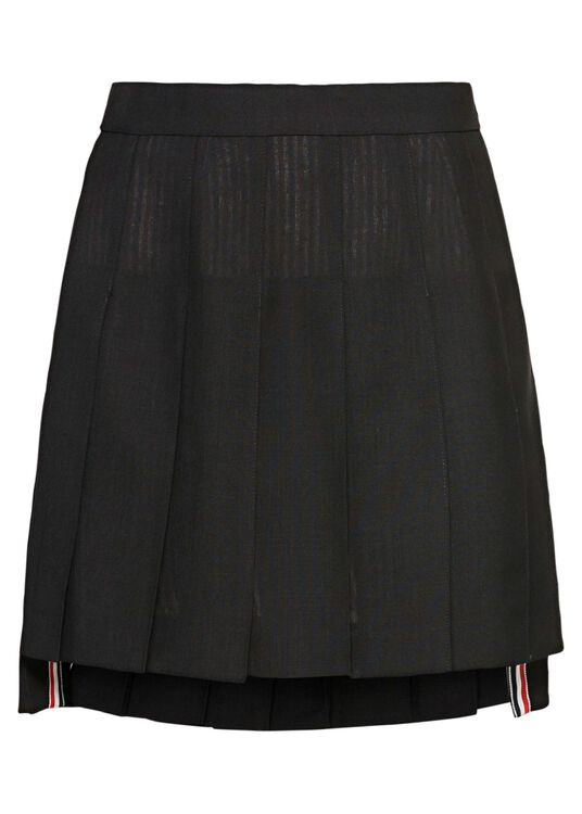 DROPPED BACK MINI PLEATED SKIRT IN 2PLY FRESCO, Schwarz, large image number 0