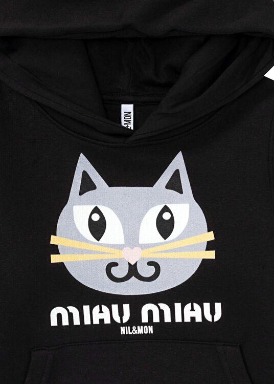 Little Miau Hoodie, Schwarz, large image number 2