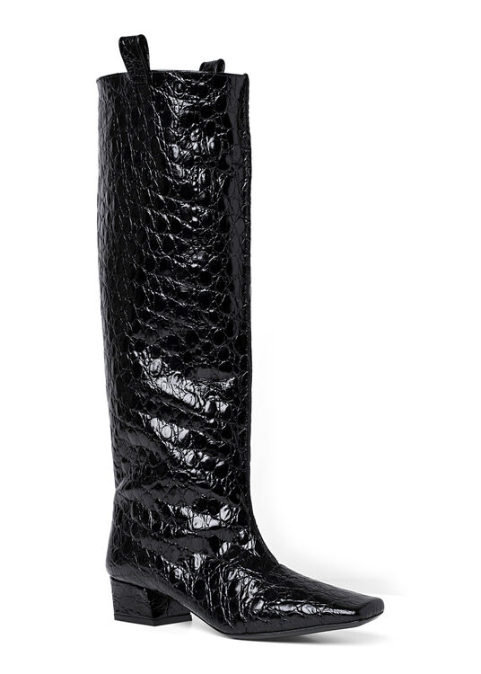 REMY BLACK CIRCULAR CROCO EMBOSSED LEATHER image number 1