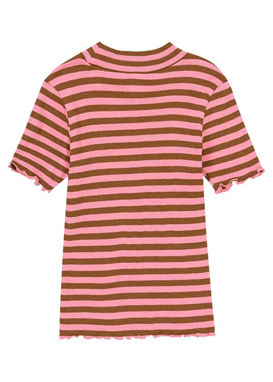 Fitted short sleeve high neck tee in yarn dyed stripe image number 1