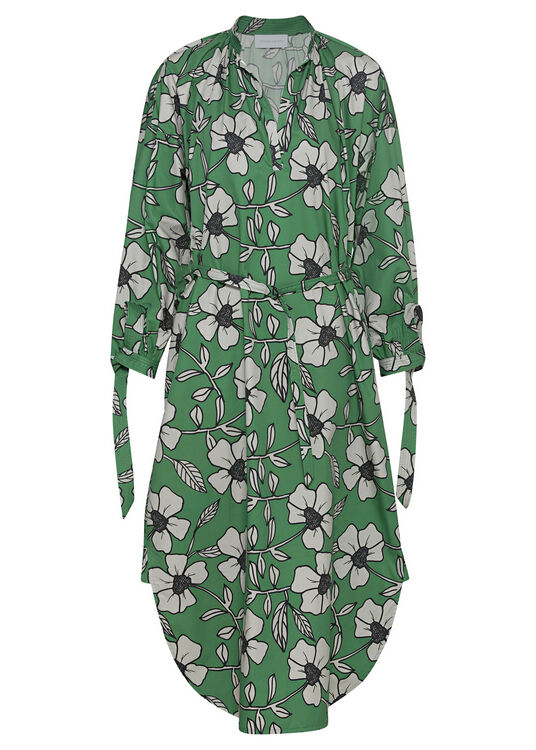 SHIRTDRESS WITH GATHERED NECKLINE image number 0