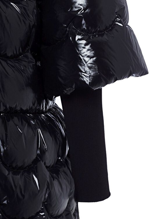 DOWN COAT NYLON LAQUE', Schwarz, large image number 3