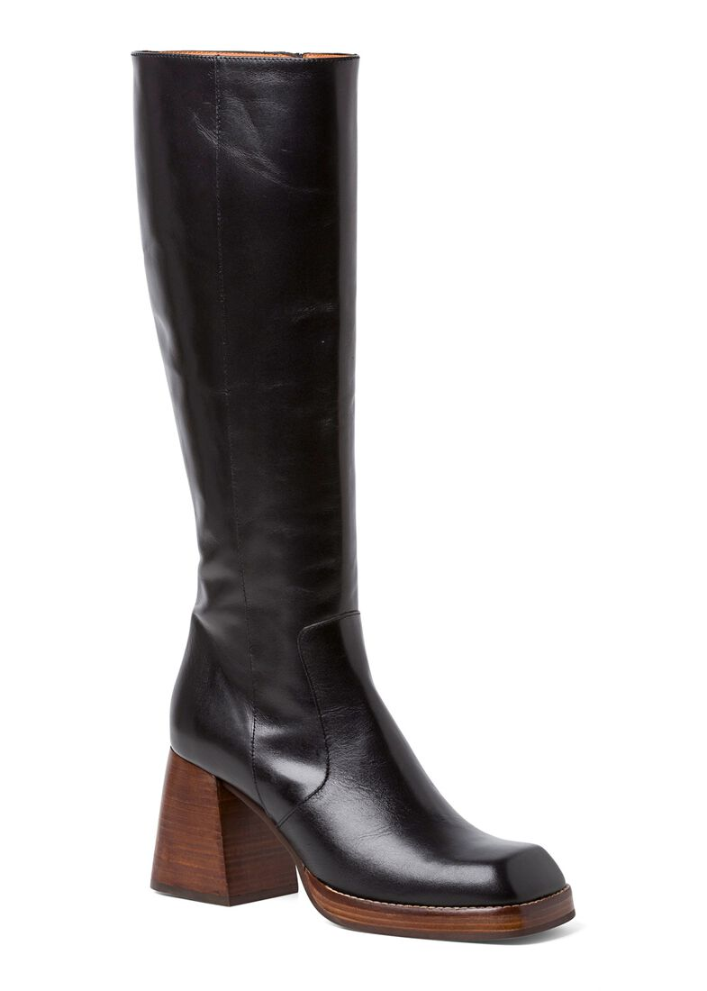3_Square Boot Wooden Heel 90mm, Schwarz, large image number 1