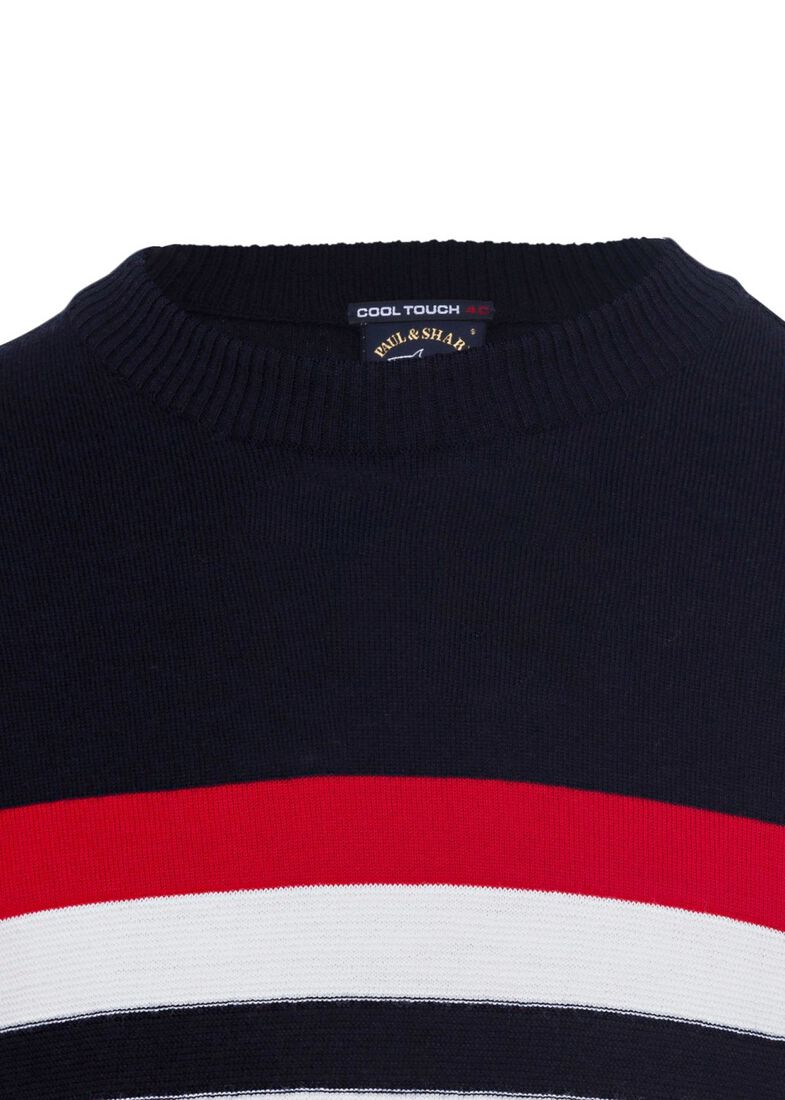 MEN'S KNITTED ROUNDNECK C.W. WOOL, Blau, large image number 2