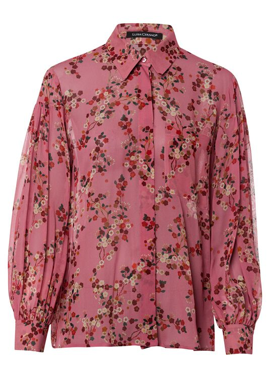 Bluse mit Kirschblüten-Print image number 0