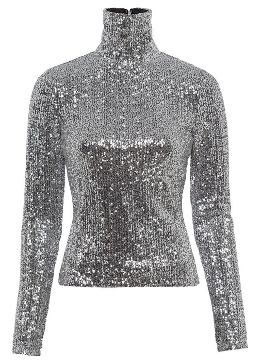 WOMEN SEQUINED LONG SLEEVED TOP, Silber, large image number 0