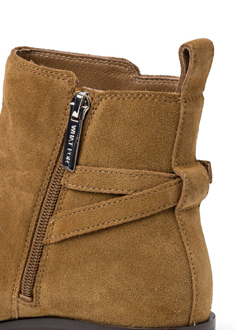 9_Victor Flat Ankle Boot Buckle Suede, Braun, large image number 3