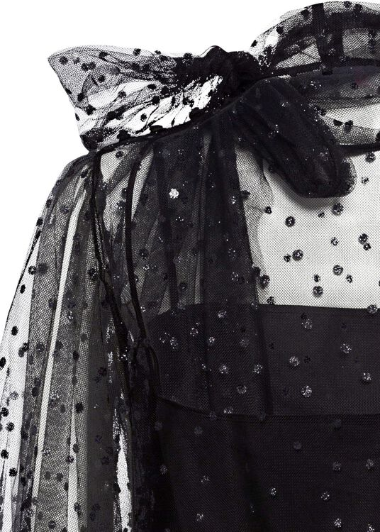 COORD. CAMICIA M/C TULLE POIS GLITTER, Schwarz, large image number 3