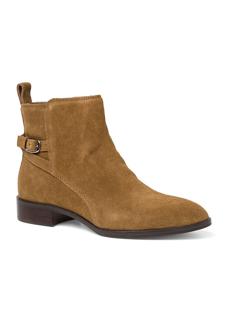 9_Victor Flat Ankle Boot Buckle Suede, Braun, large image number 1