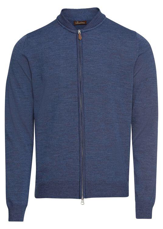 Zip cardigan,baseball,Merino wool image number 0