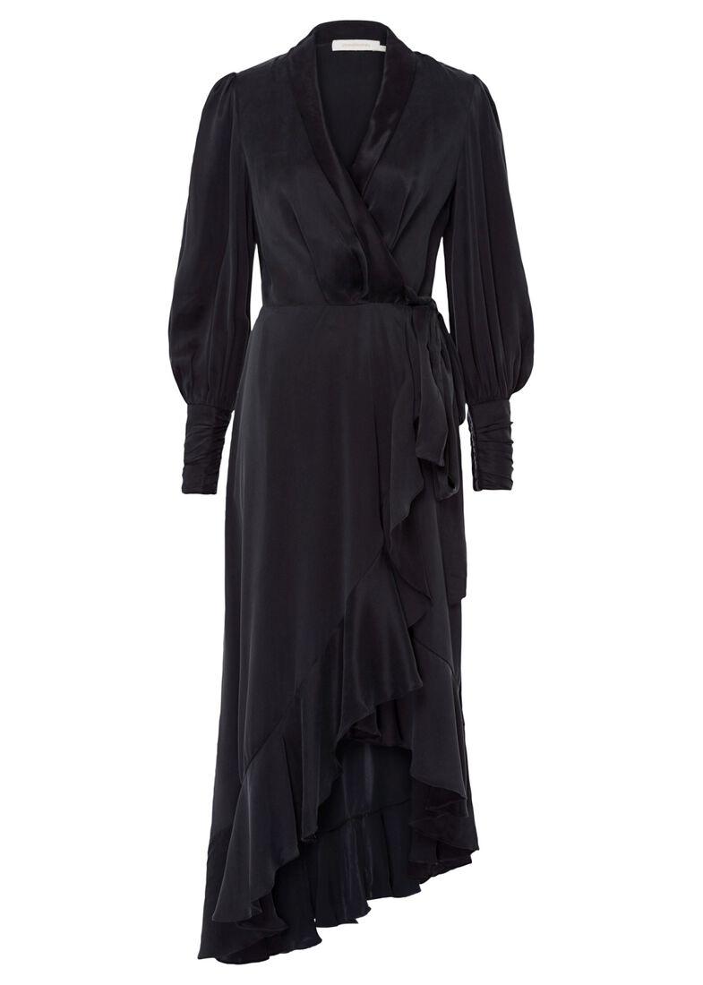 Silk Wrap Midi Dress, Schwarz, large image number 0