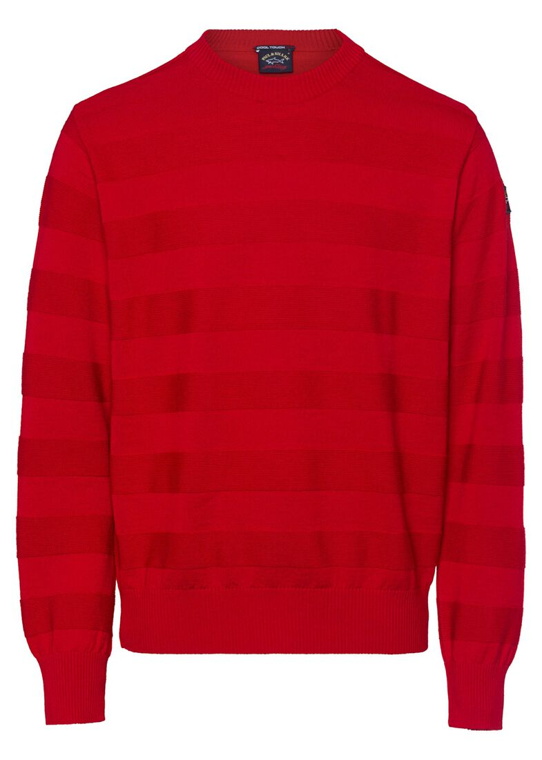 MEN'S KNITTED ROUNDNECK C.W. WOOL, Rot, large image number 0