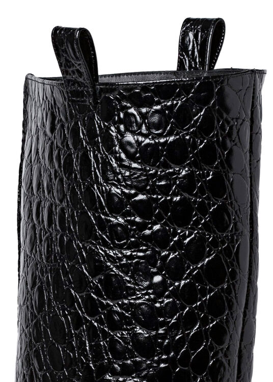 REMY BLACK CIRCULAR CROCO EMBOSSED LEATHER image number 3