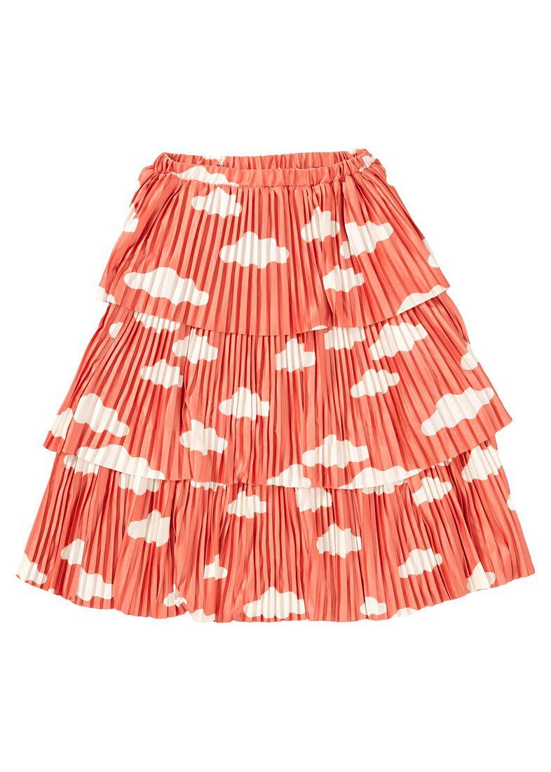 Clouds AOP Plisee Skirt, Orange, large image number 0
