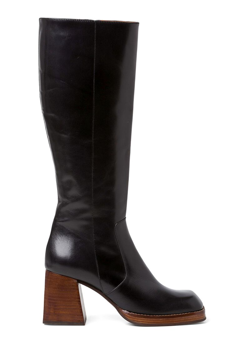 3_Square Boot Wooden Heel 90mm, Schwarz, large image number 0