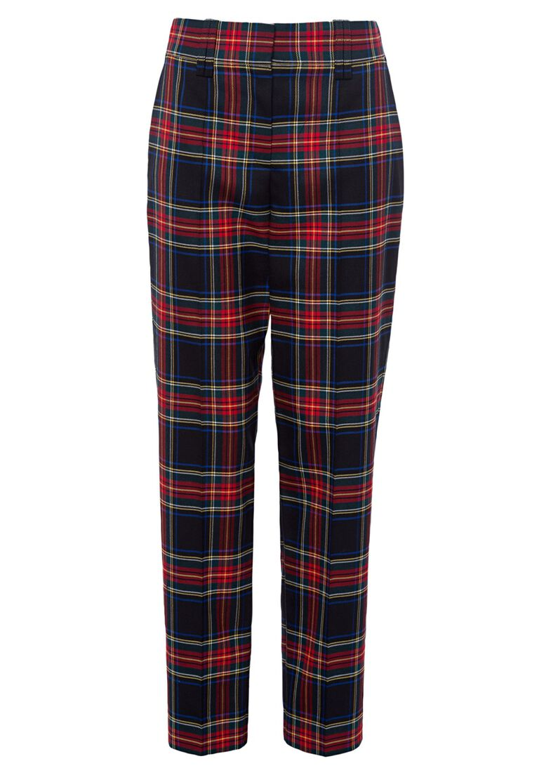 STRETCH TARTAN CARROT PANTS, Rot, large image number 0