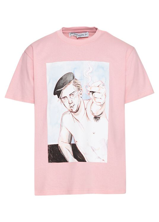 Printed Face T-Shirt, Rosa, large image number 0