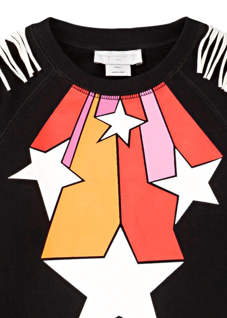 Stars Fringes Crew Neck, Schwarz, large image number 2