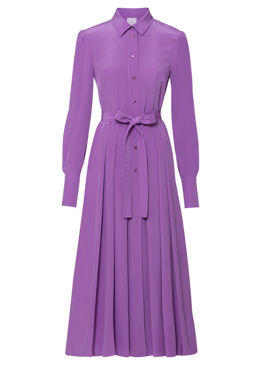 PLEATED SILK SHIRT DRESS image number 0