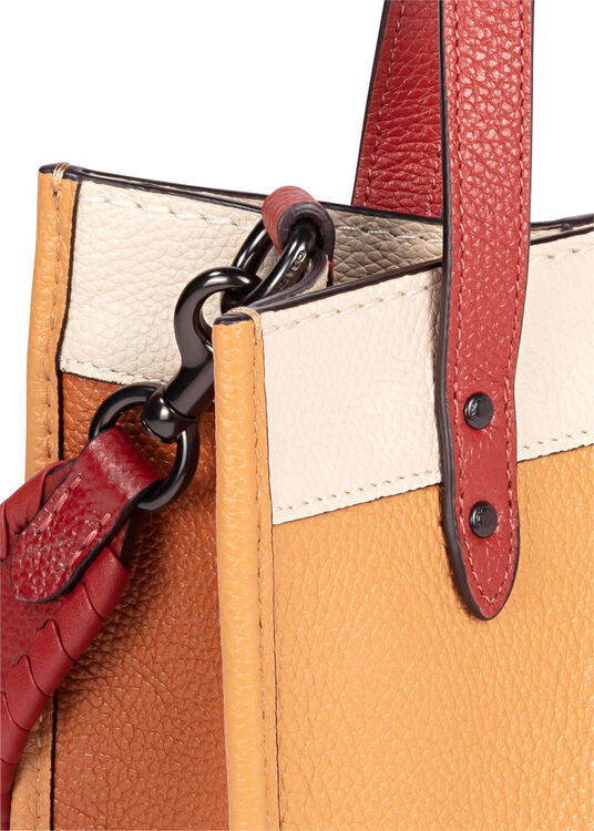 DLlorblock leather whipstitch detail DLach badge field tote image number 2