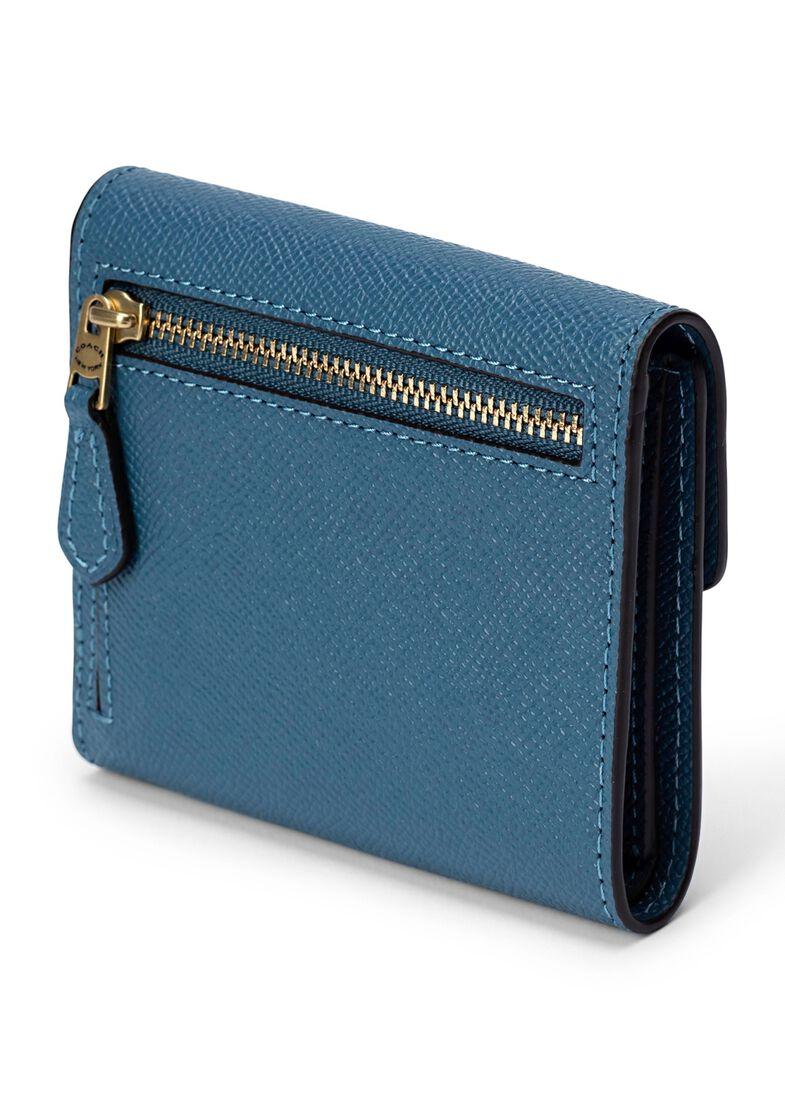 crossgrain leather small wallet, Blau, large image number 1