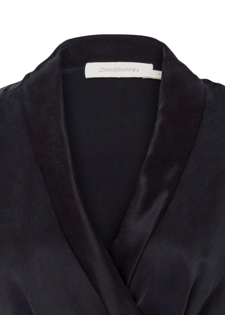 Silk Wrap Midi Dress, Schwarz, large image number 2