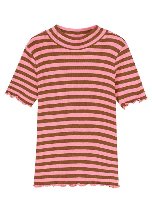 Fitted short sleeve high neck tee in yarn dyed stripe image number 0