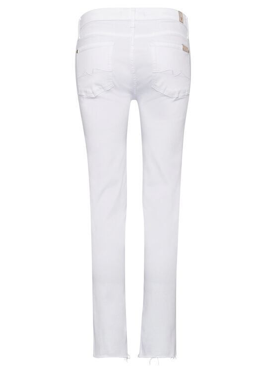 PYPER CROP Slim Illusion Pure White with Raw Cut Frayed image number 1