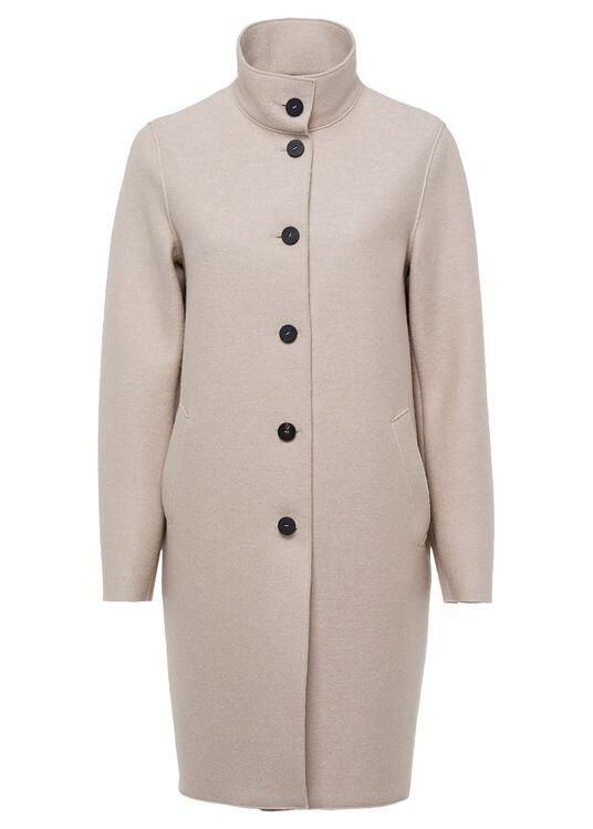 Women egg shaped coat pressed wool image number 0