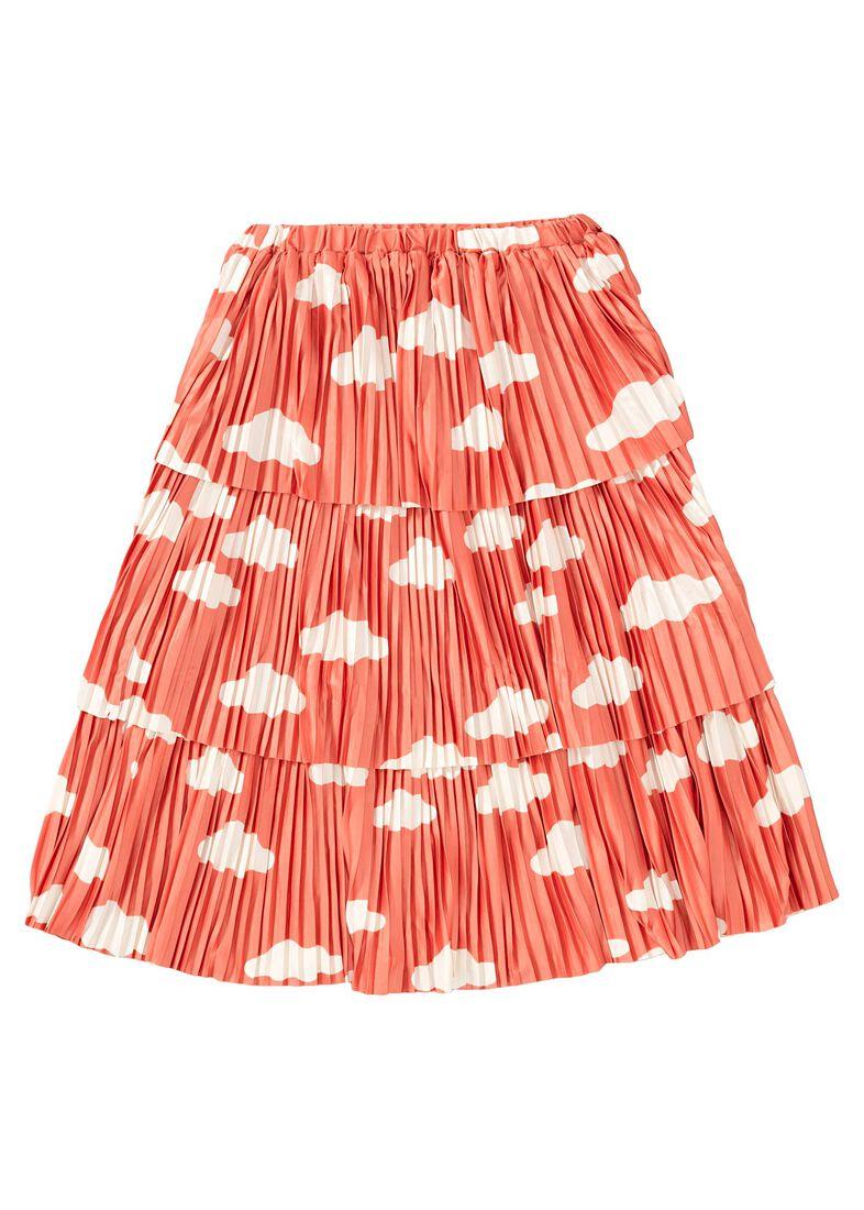 Clouds AOP Plisee Skirt, Orange, large image number 1
