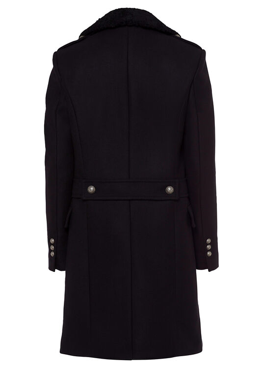 WOOL COAT W/ DETACHABLE SHEARLING COLLAR image number 1