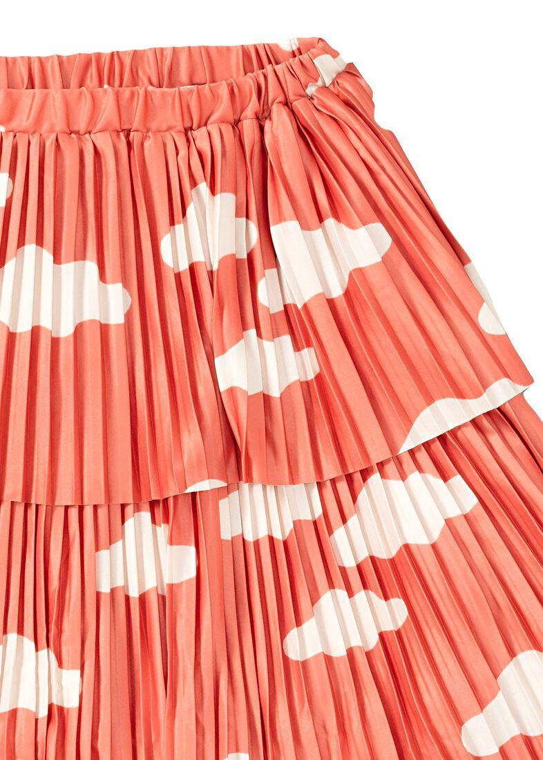 Clouds AOP Plisee Skirt, Orange, large image number 2