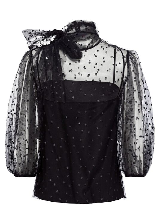 COORD. CAMICIA M/C TULLE POIS GLITTER, Schwarz, large image number 1