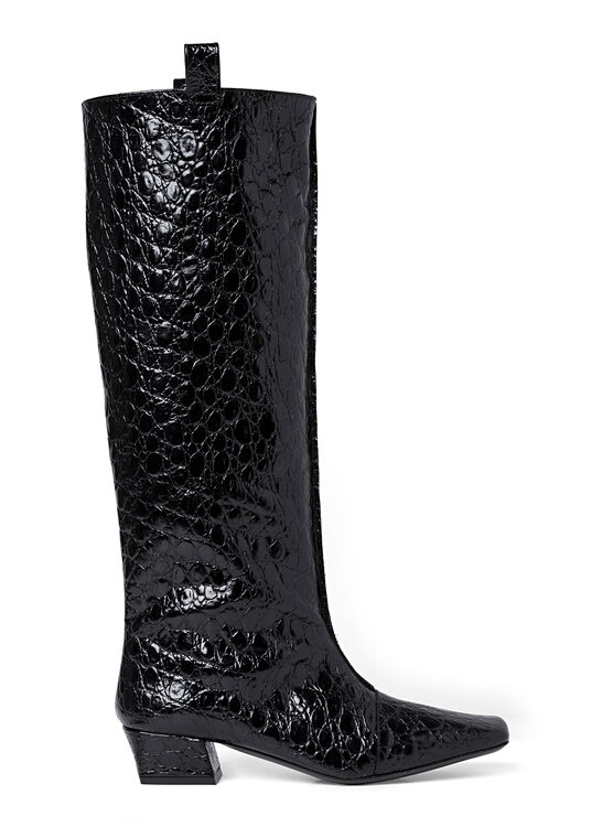 REMY BLACK CIRCULAR CROCO EMBOSSED LEATHER image number 0